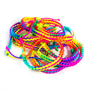 12 x UV/Blacklight Reactive Fluro Friendship Bracelet - Rainbow (Non-Flash)
