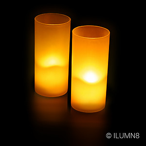24 x Safe LED Votive Candles w/ Frosted Holders