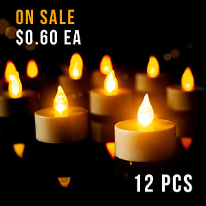 12 x LED Candles - Amber Tealight