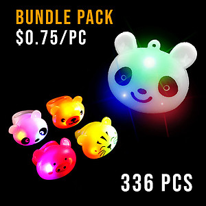 BUNDLE DEAL - MIXED ANIMALS PARTY NECKLACE & RING LARGE PACK - 336 PC