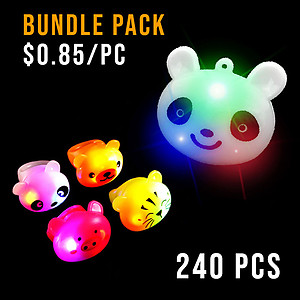 BUNDLE DEAL - MIXED ANIMALS PARTY NECKLACE & RING MEDIUM PACK - 240 PC