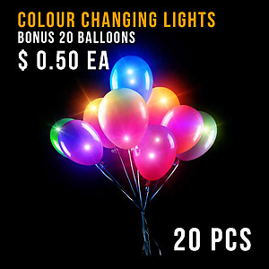 20 x Balloon Lights Colour Changing + Bonus Balloons