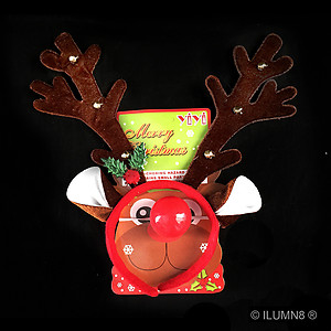 1 x Headband - Brown Reindeer Antlers with LED Flashing Nose