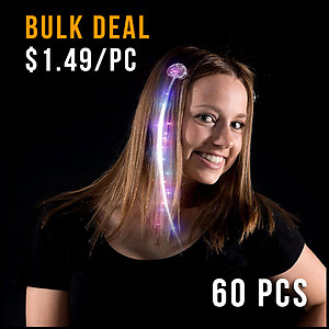 60 x Flashing Hair Clips Fiber Optic - Multi Colour Changing