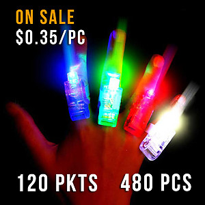 FINGER LIGHTS-120 CARD CTN MIXED COLOURS