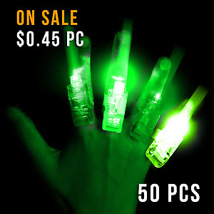 FINGER LIGHTS GREEN-50PC PACK
