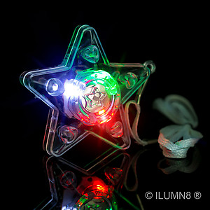 96 x Flashing XL Star Necklaces Flashes Red/Green/Blue - 3 Modes
