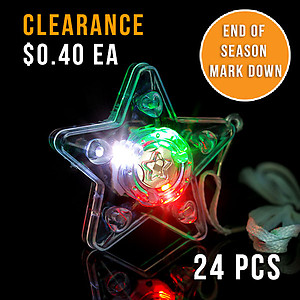 24 x Flashing Necklaces - Flashing XL Star Necklace Red/Green/White Lights