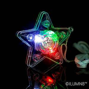 24 x Flashing XL Star Necklaces Flashes Red/Green/Blue - 3 Modes