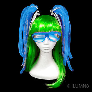 Flashing Crazy Noodle Hair - Blue (1pc)