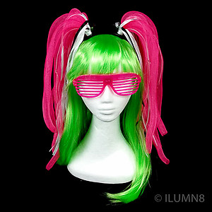 Flashing Crazy Noodle Hair - Hot Pink (1pc)