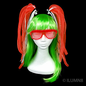 Flashing Crazy Noodle Hair - Red (1pc)