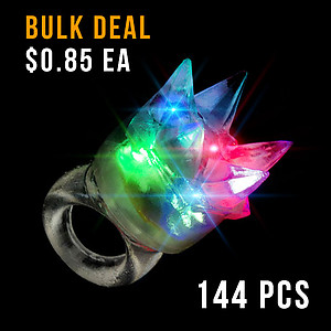 144 x Flashing Rings Jelly Spikey - Transparent with RGB Lights