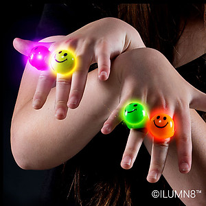 144 x Flashing Rings Jelly Smiley Face