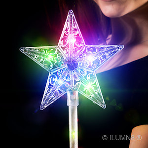1 x Flashing Crystal Star Wand 41cm