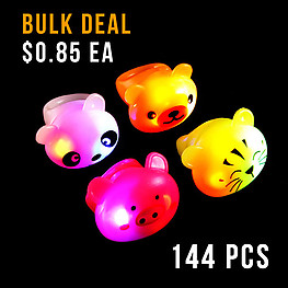 FLASHING RINGS JELLY CUTE ANIMALS 144PC