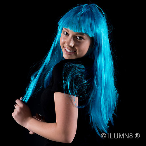 DELUXE LONG HAIR WIG-FLURO BLUE-1PC
