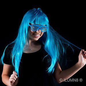 1 x Deluxe Long Hair Party Wig- Fluro Blue