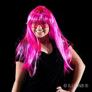 1 x Deluxe Long Hair Party Wig- Fluro Pink