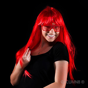 1 x Deluxe Long Hair Party Wig- Fluro Red