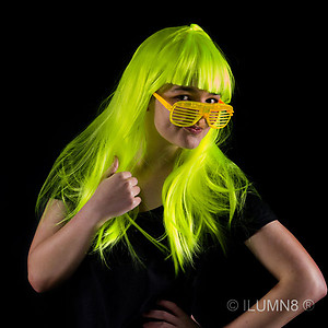 1 x Deluxe Long Hair Party Wig- Fluro Yellow