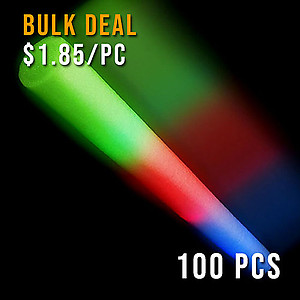 100 x Flashing Wand LED Foam Thunder Stick RGB 48cm