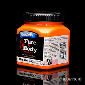 250ml UV Reactive Face & Body Paint - Neon/Fluro Orange