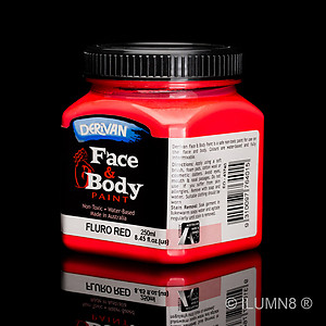 250ml UV Reactive Face & Body Paint - Neon/Fluro Red