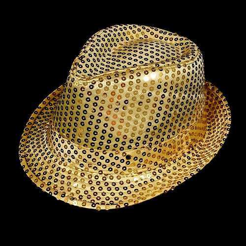 FLASHING HAT-FEDORA GOLD SEQUIN-1PC