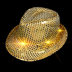 LED Hat - Gold Fedora Hat - Gold Sequin with 6 Flashing Lights