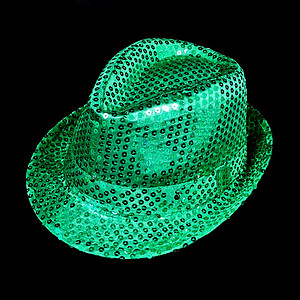 LED Hat - Emerald Green Fedora Hat - Green Sequin with 6 Flashing Lights