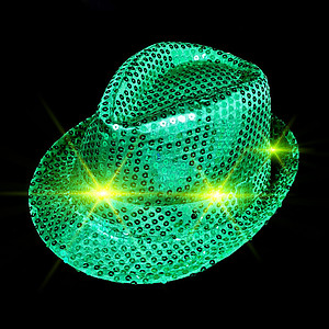 LED Hat - Aussie Green & Gold Fedora Hat with 6 Flashing Lights