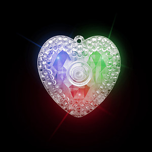24 x Flashing XL Heart Prism Necklaces Flashes Red/Green/Blue - 3 Modes