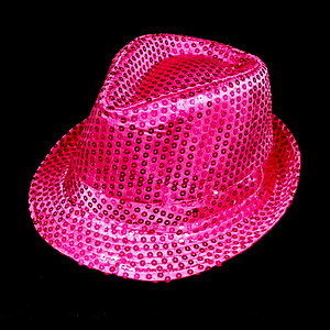 LED Hat - Fuchsia / Hot Pink Fedora Hat - Pink Sequin with 6 Flashing Lights