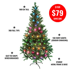 180cm, 700 tip,  Pine Christmas Tree + 10mtrs Colour Changing LED Fairy Lights