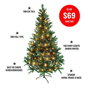 180cm, 700 tip,  Pine Christmas Tree + 10mtrs Warm White LED Fairy Lights