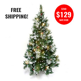 DELUXE FROSTED CHRISTMAS TREE-180CM + 10MTR WW FAIRY LIGHTS
