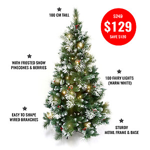 180cm Deluxe Snow Frosted Christmas Tree + 10mtrs Warm White Fairy Lights