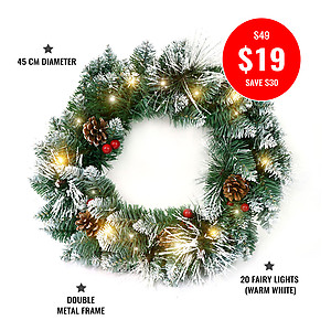 45cm Deluxe Snow Frosted Christmas Wreath + 2mtrs Warm White LED Fairy Lights