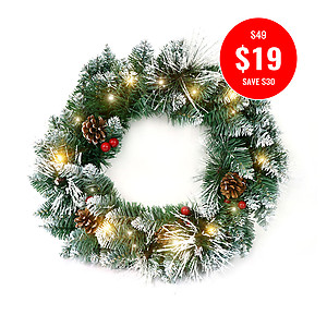 DELUXE FROSTED CHRISTMAS WREATH-45CM + 2MTR WW FAIRY LIGHTS