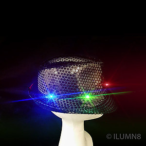 LED Hat - Black Fedora Hat - Black Sequin with 6 Flashing Lights
