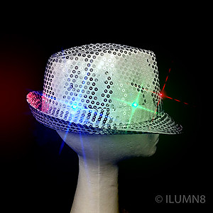 LED Hat - Silver Fedora Hat - Silver Sequin with 6 Flashing Lights