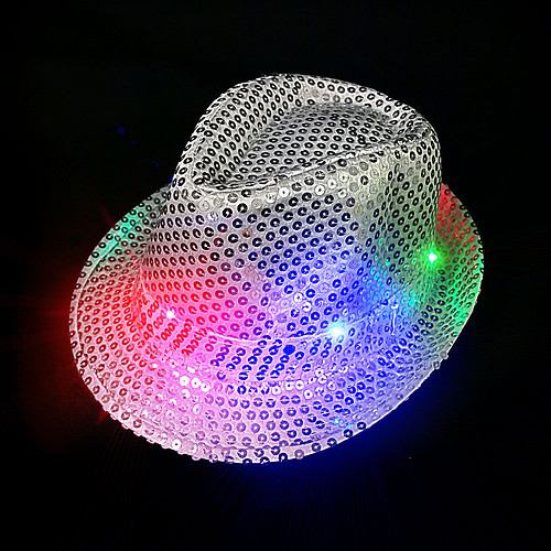 FLASHING HAT-FEDORA SILVER SEQUIN-1PC