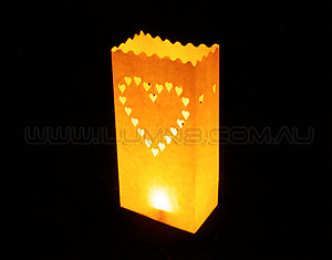 10 x Candle Bags / Luminarias: Large Heart