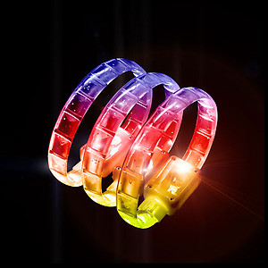 1 x Flashing Bracelet - Jelly Flexi Multi Colour Changing