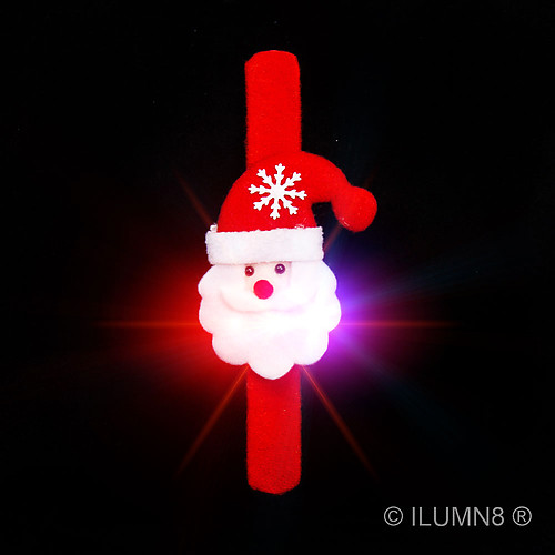 FLASHING BRACELET-CUTE SANTA SLAP BAND-1PC
