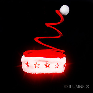 1 x Deluxe Springy Santa Hat With Light Up Stars