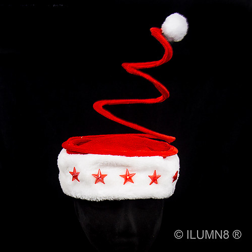 DELUXE SANTA HAT-SPRINGY RED PLUSH WITH LIGHT UP STARS-1PC