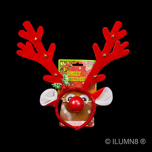 REINDEER ANTLERS (BROWN)- W/LIGHT UP NOSE-1 SET