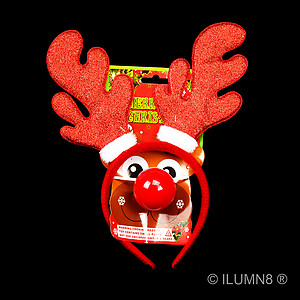 Headband - Red Glitter Reindeer Antlers with LED Flashing Nose